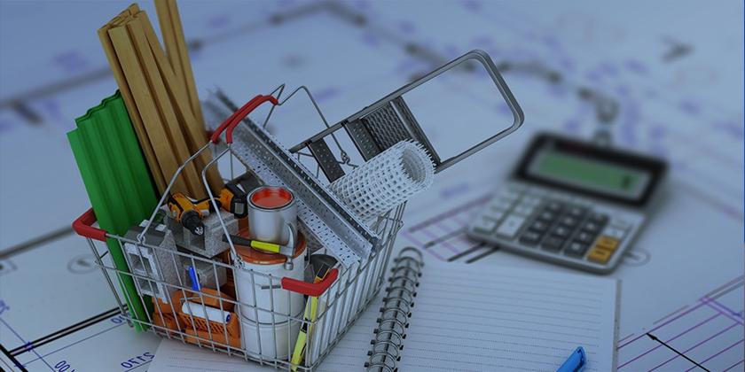 cesto de compras com materiais de construção