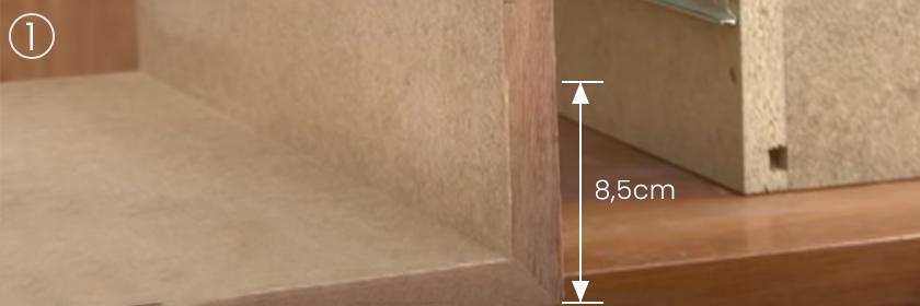Tamanho 8,5cm parede gaveta